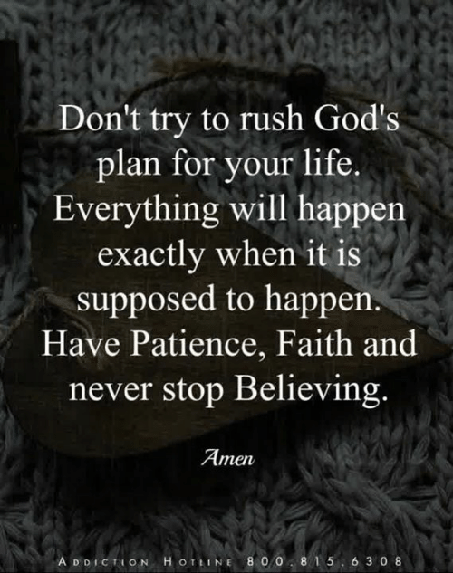 Life, Memes, and Patience: Don't try to rush God's  plan for your life.  Everything will happen  exactly when it is  supposed to happen.  Have Patience, Faith and  never stop Believing.  Amen  A D DICTION H O TLINE 8 0085 6 3 0 8