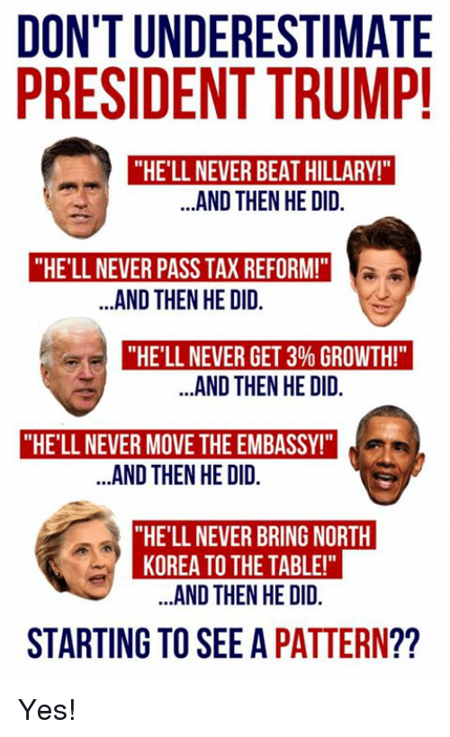 "Memes, North Korea, and Trump: DON'T UNDERESTIMATE  PRESIDENT TRUMP  ""HE'LL NEVER BEAT HILLARY!""  ..AND THEN HE DID.  ""HE'LL NEVER PASS TAX REFORM!""  .AND THEN HE DID.  ""HE'LL NEVER GET 3% GROWTH!""  .AND THEN HE DID.  ""HE'LL NEVER MOVE THE EMBASSY!  AND THEN HE OID  ""HE'LL NEVER BRING NORTH  KOREA TO THE TABLE!""  ..AND THEN HE DID.  STARTING TO SEE A PATTERN?? Yes!"