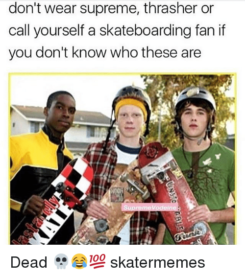 thrasher: don't wear supreme, thrasher or  call yourself a skateboarding fan if  you don't know who these are Dead 💀😂💯 skatermemes