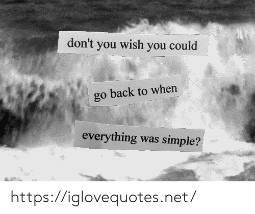 Back, Simple, and Net: don't  wish  you  you could  go back to when  everything  was simple? https://iglovequotes.net/