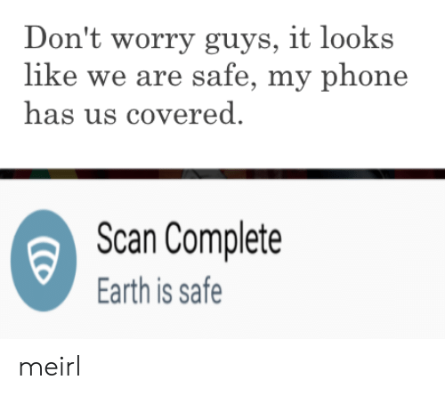Covered: Don't worry guys, it looks  like we are safe, my phone  has us covered  Scan Complete  Earth is safe meirl