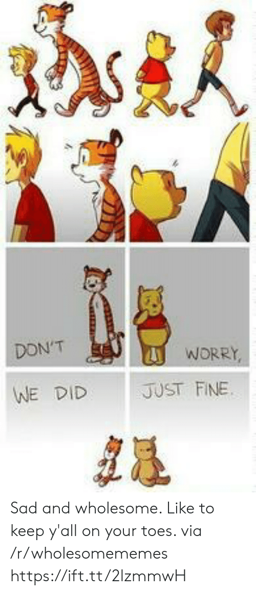 Sad, Wholesome, and Via: DON'T  WORRY,  JUST FINE  WE DID Sad and wholesome. Like to keep y'all on your toes. via /r/wholesomememes https://ift.tt/2lzmmwH