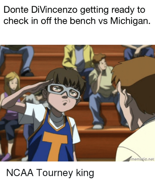 Divincenzo: Donte DiVincenzo getting ready to  check in off the bench vs Michigan.