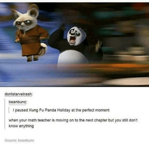 Kungs: dontstarvetrash:  beanbunz:  I paused Kung Fu Panda Holiday at the perfect moment  when your math teacher is moving on to the next chapter but you still don't  know anything  Source beanbunz
