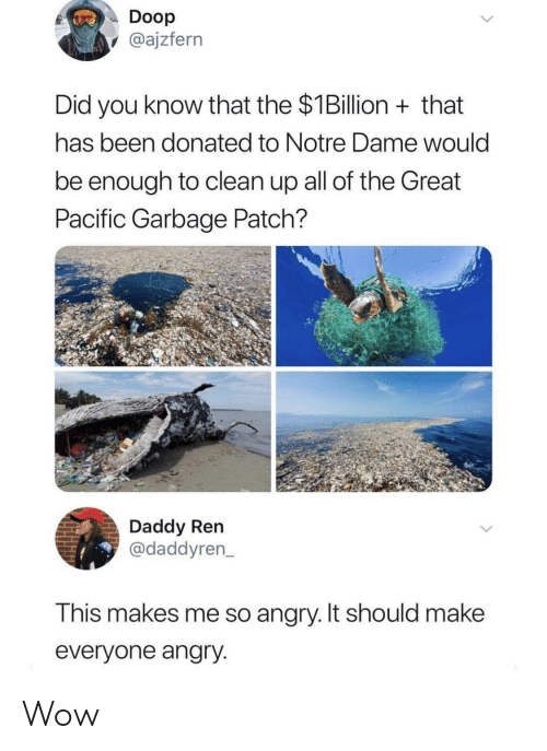 So Angry: Doop  @ajzfern  Did you know that the $1Billion that  has been donated to Notre Dame would  be enough to clean up all of the Great  Pacific Garbage Patch?  Daddy Ren  @daddyren  This makes me so angry. It should makee  everyone angry Wow