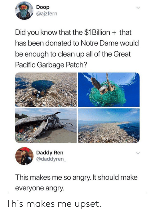 So Angry: Doop  @ajzfern  Did you know that the $1Billion+that  has been donated to Notre Dame would  be enough to clean up all of the Great  Pacific Garbage Patch?  Daddy Ren  @daddyren  This makes me so angry. It should make  everyone angry. This makes me upset.