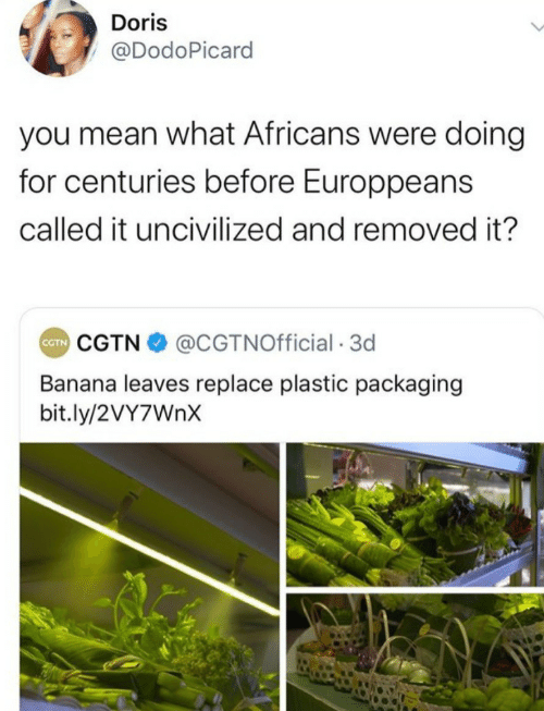 bit.ly: Doris  @DodoPicard  you mean what Africans were doing  for centuries before Europpeans  called it uncivilized and removed it?  CGTN O @CGTNOfficial · 3d  CTN  Banana leaves replace plastic packaging  bit.ly/2VY7WNX