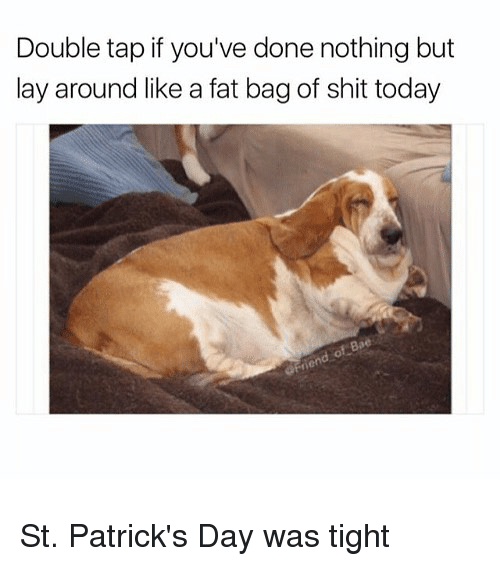 Funny, Shit, and St Patrick's Day: Double tap if you've done nothing but  lay around like a fat bag of shit today  80 St. Patrick's Day was tight