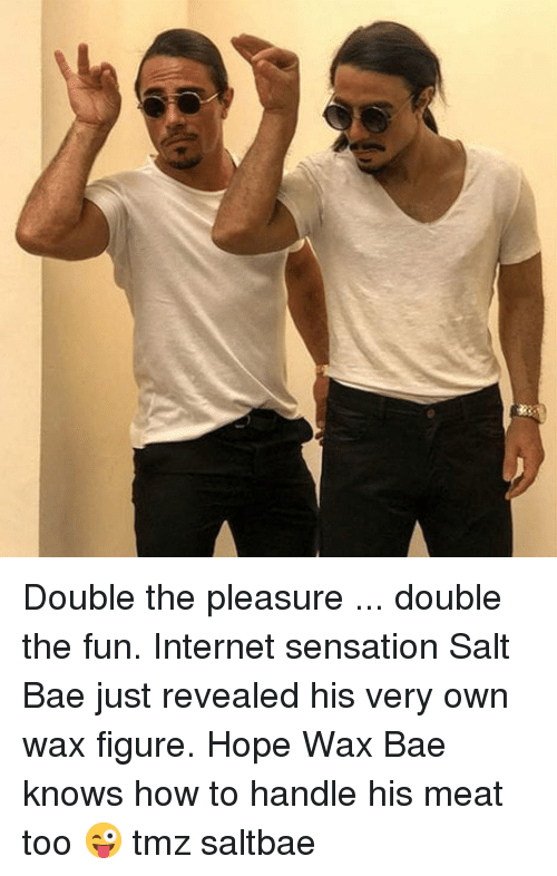 Saltbae: Double the pleasure ... double the fun. Internet sensation Salt Bae just revealed his very own wax figure. Hope Wax Bae knows how to handle his meat too 😜 tmz saltbae