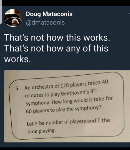 Doug: Doug Mataconis  @dmataconis  That's not how this works.  That's not how any of this  works.  An orchestra of 120 players takes 40  5.  minutes to play Beethoven's 9th  Symphony. How long would it take for  60 players to play the symphony?  Let P be number of players and T the  time playing.