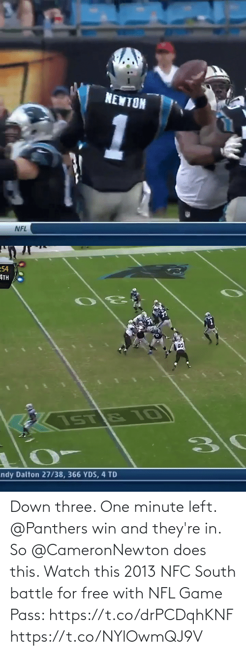 battle: Down three. One minute left. @Panthers win and they're in. So @CameronNewton does this.   Watch this 2013 NFC South battle for free with NFL Game Pass: https://t.co/drPCDqhKNF https://t.co/NYlOwmQJ9V