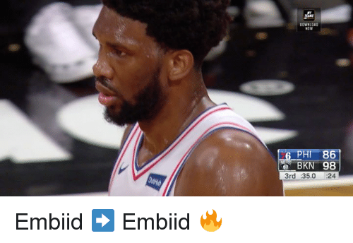 Embiid: DOWNLOAD  NOW  PHI 86  e BKN 98  3rd :35.0 :24 Embiid ➡️ Embiid 🔥