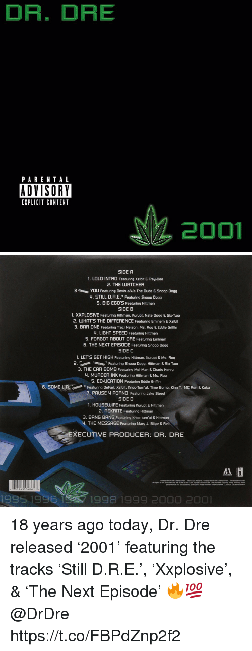 mary j: DR. DRE  PARENTAL  ADVISORY  EXPLICIT CONTENT  2001   SIDE A  1. LOLO INTRO Featuring Xzibit & Tray-Dee  2. THE UATCHER  3 mutu, You Featuring Devin aka The Dude & Snoop Dogg  4. STILL D.R.E. Featuring Snoop Dogg  5. BIG EG0'S Featuring Hittman  SIDE B  1. XXPLOSIVE Featuring Hittman, Kurupt, Nate Dogg & Six-Two  2. WHATS THE DIFFERENCE Featuring Eminem & Xzibit  3. BAR ONE Featuring Traci Nelson, Ms. Roq & Eddie Griffin  4. LIGHT SPEED Featuring Hittman  5. FORGOT ABOUT DRE Featuring Eminem  6. THE NEXT EPISODE Featuring Snoop Dogg  SIDE C  1. LET'S GET HIGH Featuring Hittman, Kurupt & Ms. Roq  2 nt Fetring Snoop Dogg. Hittman & Six-Tuo  3. THE CAR BOMB Featuring Mel-Man & Charis Henry  4. MURDER INK Featuring Hittman & Ms. Roq  5. ED-UCATION Featuring Eddie Griffin  6. SOME LAFeaturing DeFari, Xzibit, Knoc-Turn'al, TIime Bomb, King T. MC Ren & Koka  7 PAUSE 4 PORN0 Featuring Jake Steed  SIDE D  1. HOUSEUWIFE Featuring Kurupt & Hittman  2. ACKRITE Featuring Hittman  3. BANG BANG Featuring Knoc-turn'al & Hittman  4. THE MESSAGE Featuring Mary J. Blige & Rel  XECUTIVE PRODUCER: DR. DRE  06949 0486 117  1995 1996  1998 1999 2000 2001 18 years ago today, Dr. Dre released '2001' featuring the tracks 'Still D.R.E.', 'Xxplosive', & 'The Next Episode' 🔥💯 @DrDre https://t.co/FBPdZnp2f2