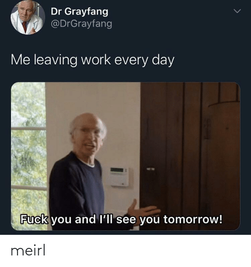 Fuck You, Work, and Fuck: Dr Grayfang  @DrGrayfang  Me leaving work every day  Fuck you and l'll see you tomorrow! meirl