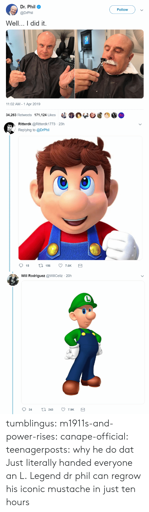 Target, Tumblr, and Blog: Dr. Phil  @DrPhil  Follow  Well. did it.  11:02 AM-1 Apr 2019  34,263 Retweets 171,124 Likes   , Ritterdk @Ritterdk1773 23h  Replying to @DrPhi  15  156  7.6K   Will Rodriguez @WillCeliz 20h  Ọ 24 t 243 7.SK tumblingus: m1911s-and-power-rises:  canape-official:  teenagerposts: why he do dat  Just literally handed everyone an L. Legend   dr phil can regrow his iconic mustache in just ten hours