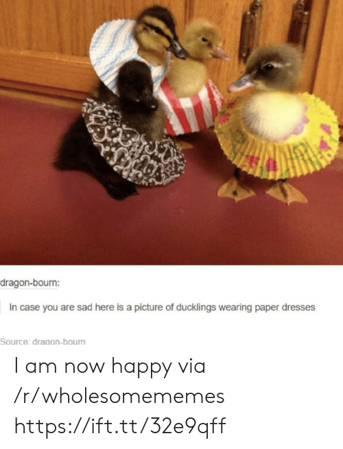 Dresses, Happy, and Sad: dragon-bourn:  In case you are sad here is a picture of ducklings wearing paper dresses  Source: dragon-bourn I am now happy via /r/wholesomememes https://ift.tt/32e9qff