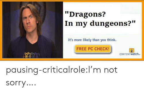 """im-not-sorry: Dragons?  In my dungeons?""""  It's more likely than you think.  FREE PC CHECK!  CONTEN T watch. pausing-criticalrole:I'm not sorry…."""