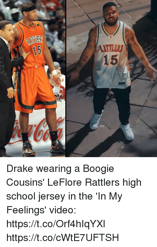 Drake, Memes, and School: Drake wearing a Boogie Cousins' LeFlore Rattlers high school jersey in the 'In My Feelings' video: https://t.co/Orf4hIqYXl https://t.co/cWtE7UFTSH