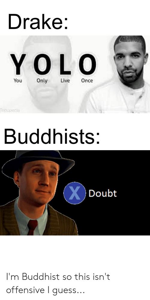Drake, Yolo, and Guess: Drake:  YOLO  You Only Live Once  Buddhists:  Doubt I'm Buddhist so this isn't offensive I guess...