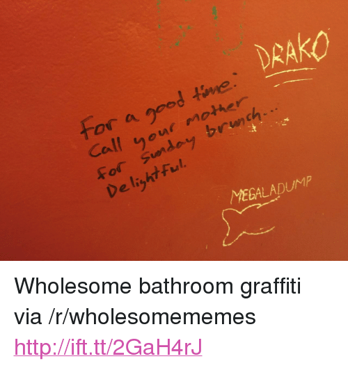"Graffiti, Http, and Time: DRAKO  or a gpod time  Call yeur mother  For Sunday brnch  De lizht Ful  rlan  MEGALADUM <p>Wholesome bathroom graffiti via /r/wholesomememes <a href=""http://ift.tt/2GaH4rJ"">http://ift.tt/2GaH4rJ</a></p>"