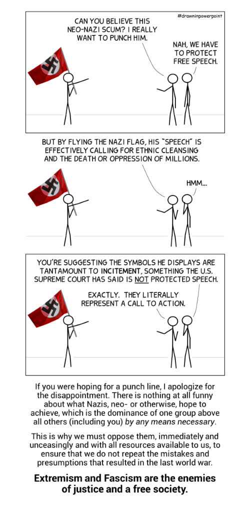 "Supreme Court:  #drawninpowerpoint  CAN YOU BELIEVE THIS  NEO-NAZI SCUM? I REALLY  WANT TO PUNCH HIM.  NAH, WE HAVE  TO PROTECT  FREE SPEECH.  BUT BY FLYING THE NAZI FLAG, HIS ""SPEECH"" IS  EFFECTIVELY CALLING FOR ETHNIC CLEANSING  AND THE DEATH OR OPPRESSION OF MILLIONS  YOU'RE SUGGESTING THE SYMBOLS HE DISPLAYS ARE  TANTAMOUNT TO INCITEMENT, SOMETHING THE U.S  SUPREME COURT HAS SAID IS NOT PROTECTED SPEECH  EXACTLY. THEY LITERALLY  REPRESENT A CALL TO ACTION.  If you were hoping for a punch line, I apologize for  the disappointment. There is nothing at all funny  about what Nazis, neo- or otherwise, hope to  achieve, which is the dominance of one group above  all others (including you) by any means necessary  This is why we must oppose them, immediately and  unceasingly and with all resources available to us, to  ensure that we do not repeat the mistakes and  presumptions that resulted in the last world war  Extremism and Fascism are the enemies  of justice and a free society."