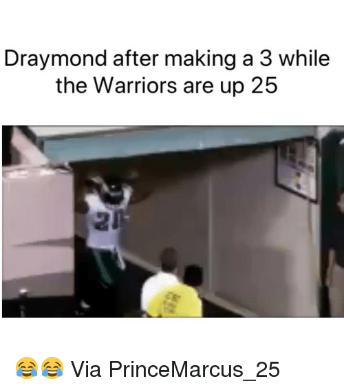 Basketball, Nba, and Sports: Draymond after making a 3 while  the Warriors are up 25 😂😂 Via ‪PrinceMarcus_25 ‬