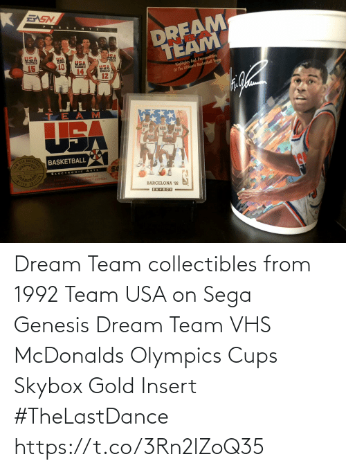 McDonalds: Dream Team collectibles from 1992  Team USA on Sega Genesis  Dream Team VHS McDonalds Olympics Cups Skybox Gold Insert   #TheLastDance https://t.co/3Rn2lZoQ35