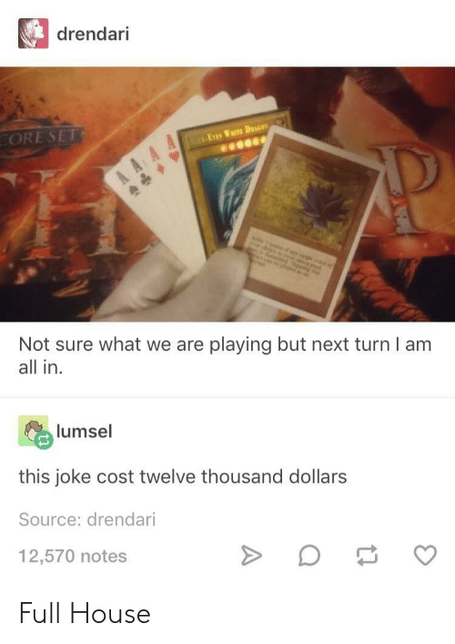 Full House, House, and Next: drendari  ORE SET  Not sure what we are playing but next turn I am  all in  lumsel  this joke cost twelve thousand dollars  Source: drendari  12,570 notes Full House