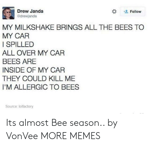 Dank, Memes, and Target: Drew Janda  @drewjanda  Follow  MY MILKSHAKE BRINGS ALL THE BEES TO  MY CAR  I SPILLED  ALL OVER MY CAR  BEES ARE  INSIDE OF MY CAR  THEY COULD KILL ME  I'M ALLERGIC TO BEES  Source: lolfactory Its almost Bee season.. by VonVee MORE MEMES