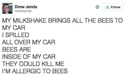 All Over: Drew Janda  drewjanda  Follow  MY MILKSHAKE BRINGS ALL THE BEES TO  MY CAR  I SPILLED  ALL OVER MY CAR  BEES ARE  INSIDE OF MY CAR  THEY COULD KILL ME  I'M ALLERGIC TO BEES