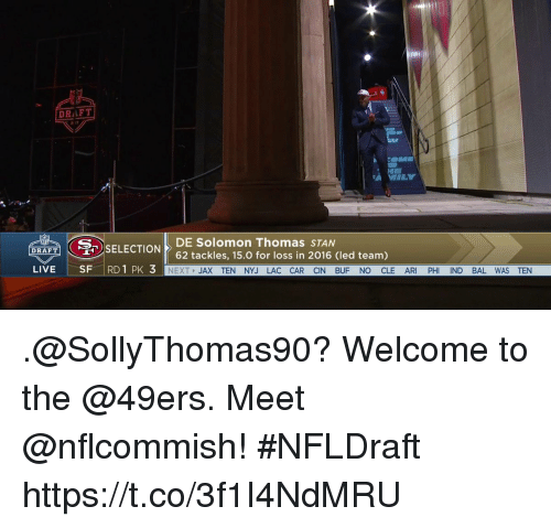 Stanning: DRIFT  SA DE Solomon Thomas STAN  SELECTION  DRAFT  62 tackles, 15.0 for loss in 2016 (led team)  LIVE  SF  RD 1 PK  3  NEXT  JAX TEN NYJ LAC CAR CIN BUF NO CLE AR  PH  ND BAL WAS TEN .@SollyThomas90? Welcome to the @49ers.  Meet @nflcommish! #NFLDraft https://t.co/3f1I4NdMRU