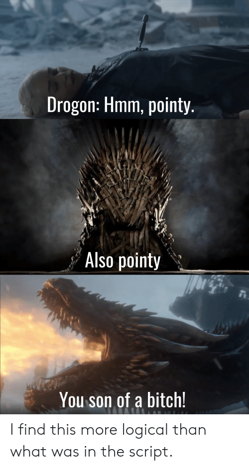 Bitch, The Script, and You: Drogon: Hmm, pointy.  Also pointy  You son of a bitch! I find this more logical than what was in the script.