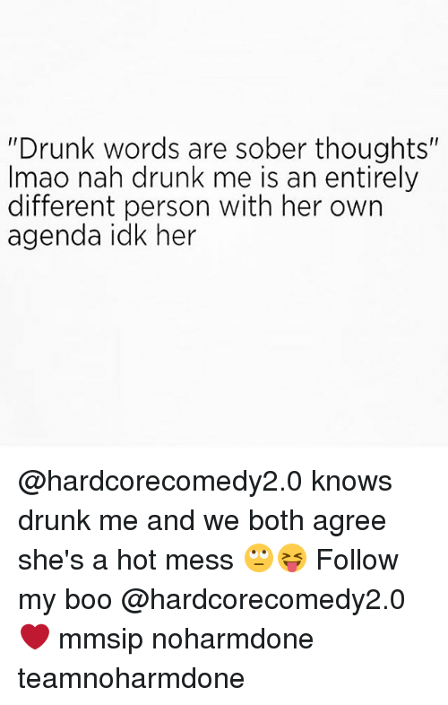 "Boo, Drunk, and Memes: ""Drunk words are sober thoughts""  Imao nah drunk me is an entirely  different person with her own  agenda idk her @hardcorecomedy2.0 knows drunk me and we both agree she's a hot mess 🙄😝 Follow my boo @hardcorecomedy2.0 ❤ mmsip noharmdone teamnoharmdone"