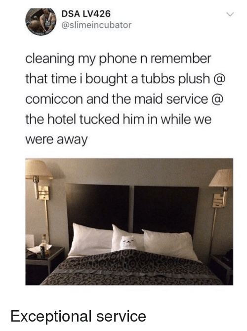 exceptional: DSA LV426  @slimeincubator  cleaning my phone n remember  that time i bought a tubbs plush @  comiccon and the maid service  the hotel tucked him in while we  were away Exceptional service