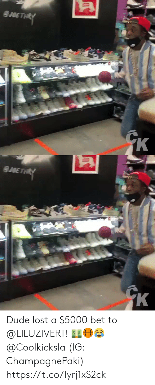 bet: Dude lost a $5000 bet to @LILUZIVERT! 💵🏀😂 @Coolkicksla (IG: ChampagnePaki) https://t.co/lyrj1xS2ck