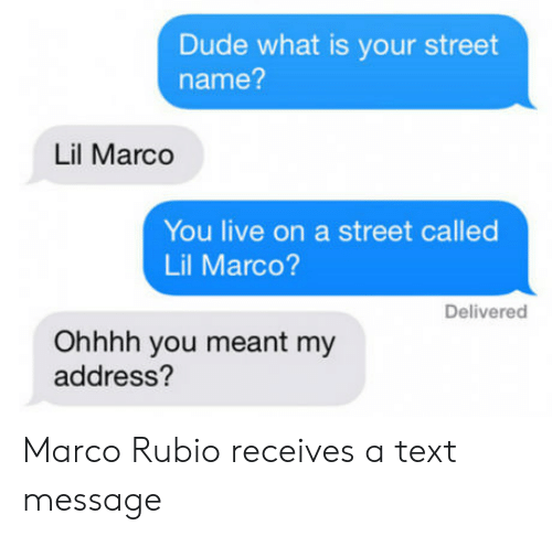 Lil Marco: Dude what is your street  name?  Lil Marco  You live on a street called  Lil Marco?  Delivered  Ohhhh you meant my  address? Marco Rubio receives a text message