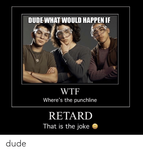 Dude What: DUDE WHAT WOULD HAPPEN IF  WTF  Where's the punchline  RETARD  That is the joke dude