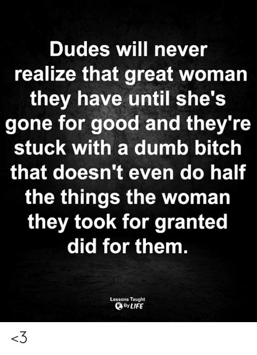 Bitch, Dumb, and Life: Dudes will never  realize that great woman  they have until she's  gone for good and they're  stuck with a dumb bitch  that doesn't even do half  the things the woman  they took for granted  did for them.  Lessons Taught  By LIFE <3