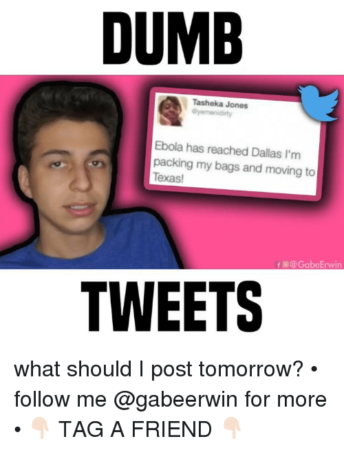 Dumb, Memes, and Ebola: DUMB  Tasheka Jones  Ebola has reached Dallas I'm  packing my bags and moving to  Texas  の  f圕@GabeErwin  TWEETS what should I post tomorrow? • follow me @gabeerwin for more • 👇🏻 TAG A FRIEND 👇🏻