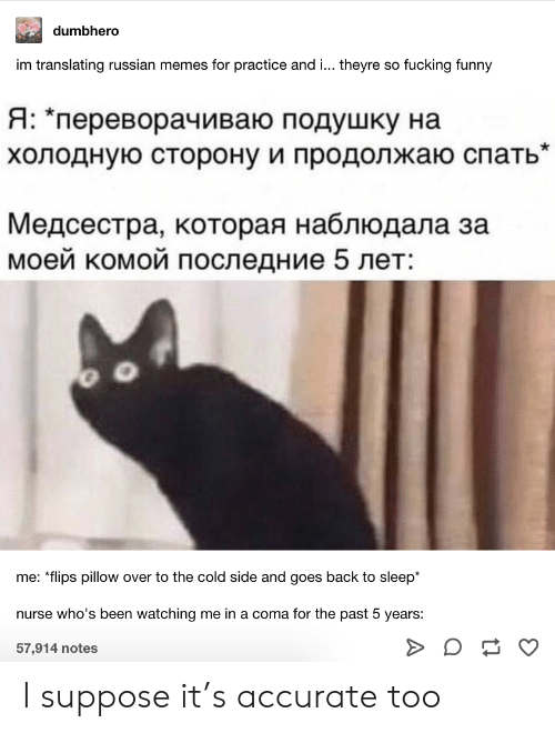 "coma: dumbhero  im translating russian memes for practice and ... theyre so fucking funny  Я: ""переворачиваю подушку на  холодную сторону и продолжаю спать""  Медсестра, которая наблюдала за  моей комой последние 5 лет:  me: *flips pillow over to the cold side and goes back to sleep*  nurse who's been watching me in a coma for the past 5 years:  57,914 notes I suppose it's accurate too"