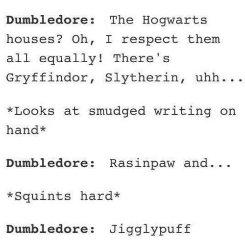 squints: Dumbledore The Hogwarts  houses  Oh, I respect them.  all  equally! There  Gryffindor  Slytherin  uhh  *Looks at smudged writing on  hand  Dumbledore Rasinpaw and  Squints hard*  Dumbledore Jigglypuff