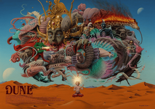 """orson welles: DUNE  A ALEXANDRO JODOROWSKY FILM  Starring BRONTIS JODOROWSKY ORSON WELLES DAVID CARRADINE MICK JAGGER  UDO KIER AMANDA LEAR & SALVADOR DALI as THE MAD EMPEROR OF THE UNIVERSE  Special Effects by DAN O'BANNON Art Direction JEAN GIRAUD """"MOBBIUS H. R GIGER& CHRIS FOSS  Music by PINK FLOYD & MAGMA Based on the novel by FRANK HERBERT  Produced by MICHAEL SEYDOUX Written and Directed by ALEXANDRO JODOROWSKY  FIGVEROA-"""