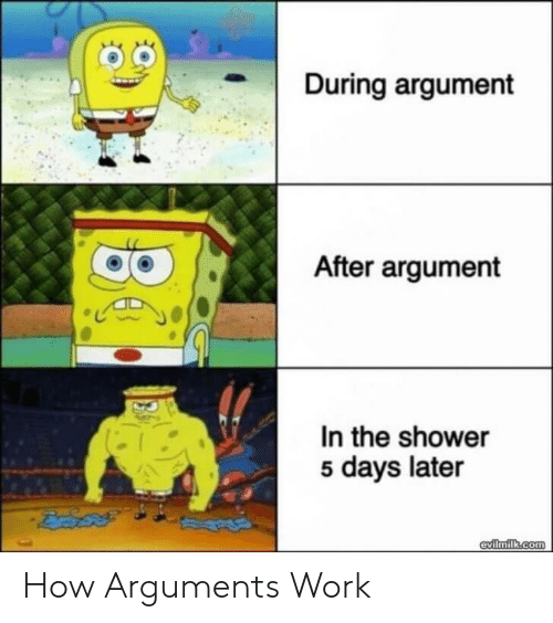 Shower, Work, and How: During argument  After argument  In the shower  5 days later  evilmilk.com How Arguments Work