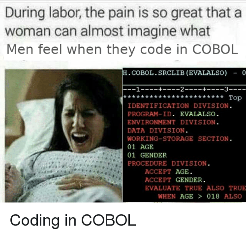 evaluate: During labor, the pain is so great that a  woman can almost imagine what  Men feel when they code in COBOL  .COBOL.SRCLIB (EVALALSO) - 0  Top  IDENTIFICATION DIVISION  PROGRAM-ID. EVALALSO  ENVIRONMENT DIVISION  DATA DIVISION  WORKING-STORAGE SECTION  01 AGE  01 GENDER  PROCEDURE DIVISION  ACCEPT AGE  ACCEPT GENDER.  EVALUATE TRUE ALSO TRUE  WHEN AGE  018 ALSO Coding in COBOL