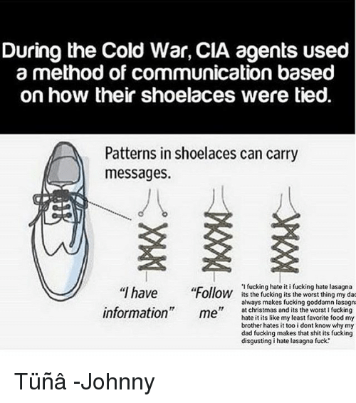 """Christmas, Dad, and Food: During the Cold War, CIA agents used  a method of communication based  on how their shoelaces were tied.  Patterns in shoelaces can carry  messages.  """"I have Foll  information"""" m l ean  'I fucking hate it i fucking hate lasagna  Ollow its the fucking its the worst thing my da  always makes fucking goddamn lasagn  at christmas and its the worst I fucking  hate it its like my least favorite food my  brother hates i too i dont know why my  dad fucking makes that shit its fucking  disgusting i hate lasagna fuck.' Tüñâ -Johnny"""