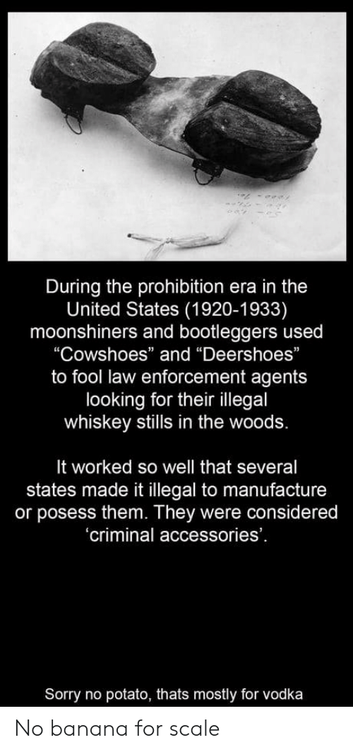 "Sorry, Banana, and Potato: During the prohibition era in the  United States (1920-1933)  moonshiners and bootleggers used  ""Cowshoes"" and ""Deershoes""  to fool law enforcement agents  looking for their illegal  whiskey stills in the woods.  It worked so well that several  states made it illegal to manufacture  or posess them. They were considered  'criminal accessories'  Sorry no potato, thats mostly for vodka No banana for scale"
