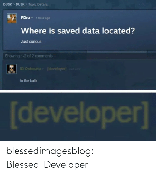 Blessed, Tumblr, and Blog: DUSK> DUSK> Topic Details  FDRU 1hour ago  Where is saved data located?  Just curious.  Showing 1-2 of 2 comments  El Oshcuro  (developer) Just now  In the balls  developer] blessedimagesblog:  Blessed_Developer