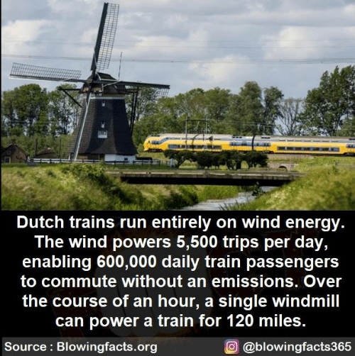 Energy, Memes, and Run: Dutch trains run entirely on wind energy  The wind powers 5,500 trips per day,  enabling 600,000 daily train passengers  to commute without an emissions. Over  the course of an hour, a single windmill  can power a train for 120 miles.  Source Blowingfacts.org  O@blowingfacts365