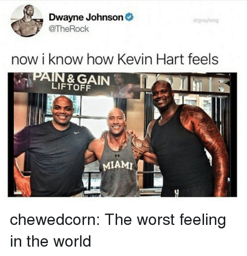 Dwayne Johnson: Dwayne Johnson  @TheRock  drgrayfang  now i know how Kevin Hart feels  PAIN & GAIN  LIFTOFF  MIAMI chewedcorn:  The worst feeling in the world