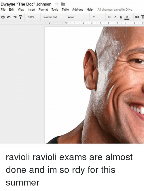 """Anaconda, Memes, and Summer: Dwayne """"The Doc"""" Johnson  File Edit View Insert Format Tools Table Add-ons Help  All changes saved in Drive  B I U A  100%  Normal text  Arial ravioli ravioli exams are almost done and im so rdy for this summer"""
